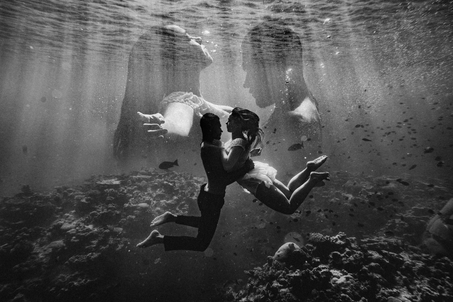Couple together underwater